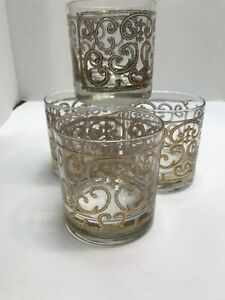 Georges-Briard-Double-Old-Fashioned-Glasses-Spanish-Gold-Straight-Side-Set-of-4
