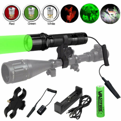 Tactical White//Red//Green LED Flashlight Hunting Coyote Hog Torch Switch Control