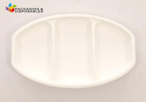 20 X Blanco Fuerte Ovalado Plástico 3 sección buffet Bandejas Reutilizable