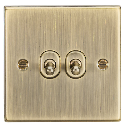 Knightsbridge Screwless Polished Brass Toggle Switch 1,2,3,4 Gang/&Intermediate