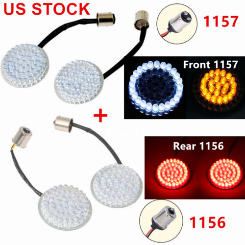 Rear 1156 LED Turn Signal Inserts For Harley Sportster 883 US STOCK Front 1157