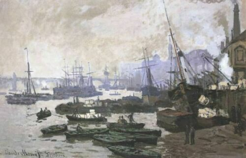 Boats in the Port of London MON032a Monet Poster Art Print A4 A3 A2 A1