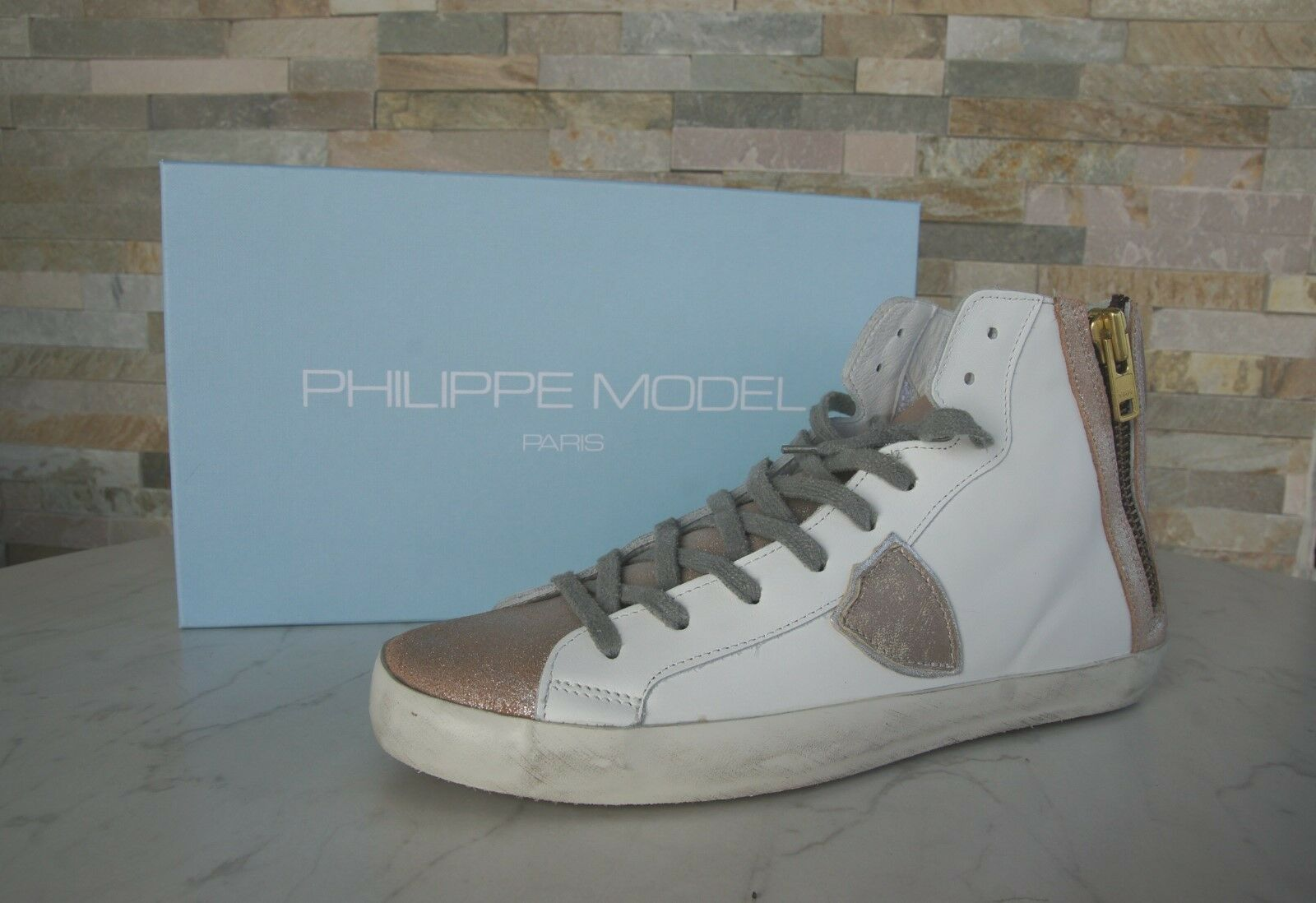 Philippe Model Paris taglia 41 HIGH TOP SNEAKERS BIKE ALTA SCARPE NUOVO UVP