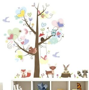 Details About Woodland Tree Animal Wall Decal Sticker Childs Bedroom Nursery Playroom