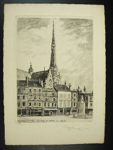 Engraving-Xx-Th-Eglise-Place-of-Martroi-Pithiviers-Signed-Pencil-per-Louis-Robin