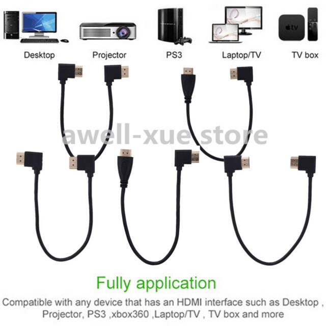 1m/1.8m/3m 1080p HDTV HDMI V1.4 Male Plug to HDMI Male Angled Cable Adapter Cord
