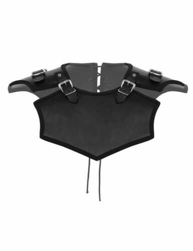 Mens Black Leather Gorget Armour Chest Harness Costume with Epaulet Shoulders