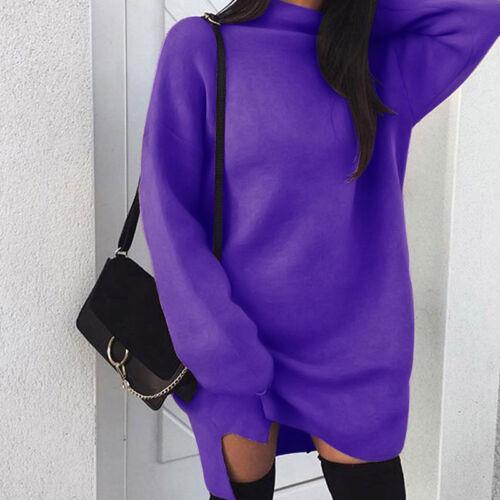 Damen Hoodies Jumper Baggy Lose Sweatshirt Longtops Minikleid Langarm Pullover