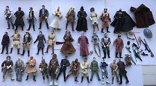 Vinage Star Wars Figures lot Luke Anakin Han Solo Lightsabers weapons boba droid