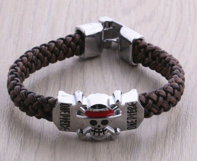 1X Anime POP One Piece Men's Silver Alloy Badge Brown Knit Bracelet Wristband