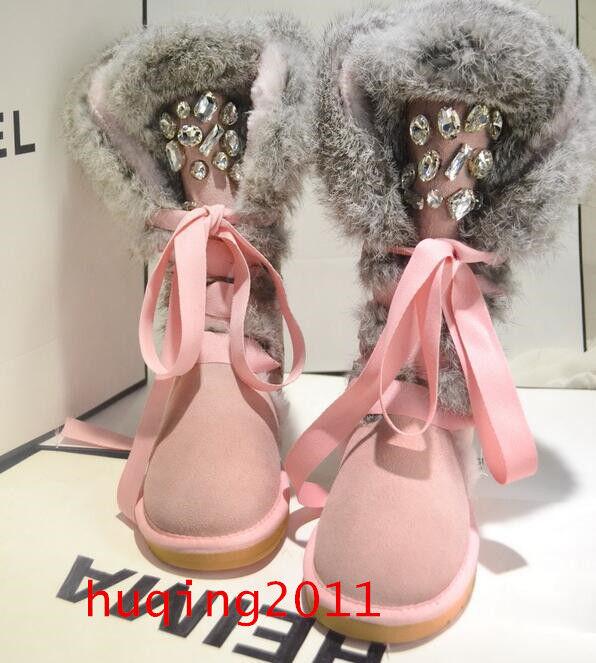 New  Women Winter Warm Fur Thicken Knee Snow Boots rhinestone Shoes