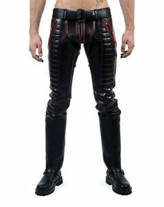 MEN-039-S-COWHIDE-LEATHER-JEANS-RED-STRIPES-DOUBLE-ZIP-PANTS-JEANS