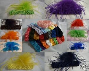 Ostrich Feather Flower Hair Bow Clip w Crochet Headband