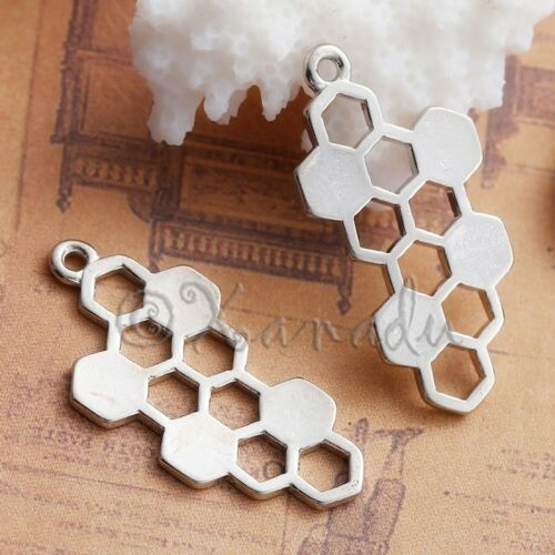 Honeycomb 32mm Wholesale Silver Plated Bee Charm Connector C1383-5 20PCs 10