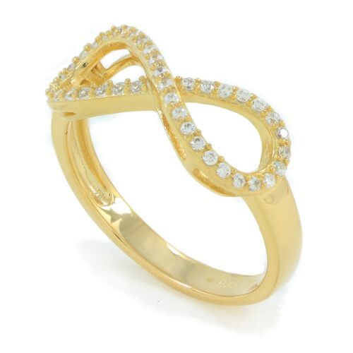 Sterling Silver infinity rings micro pave cz setting rhodium or 18K gold plated