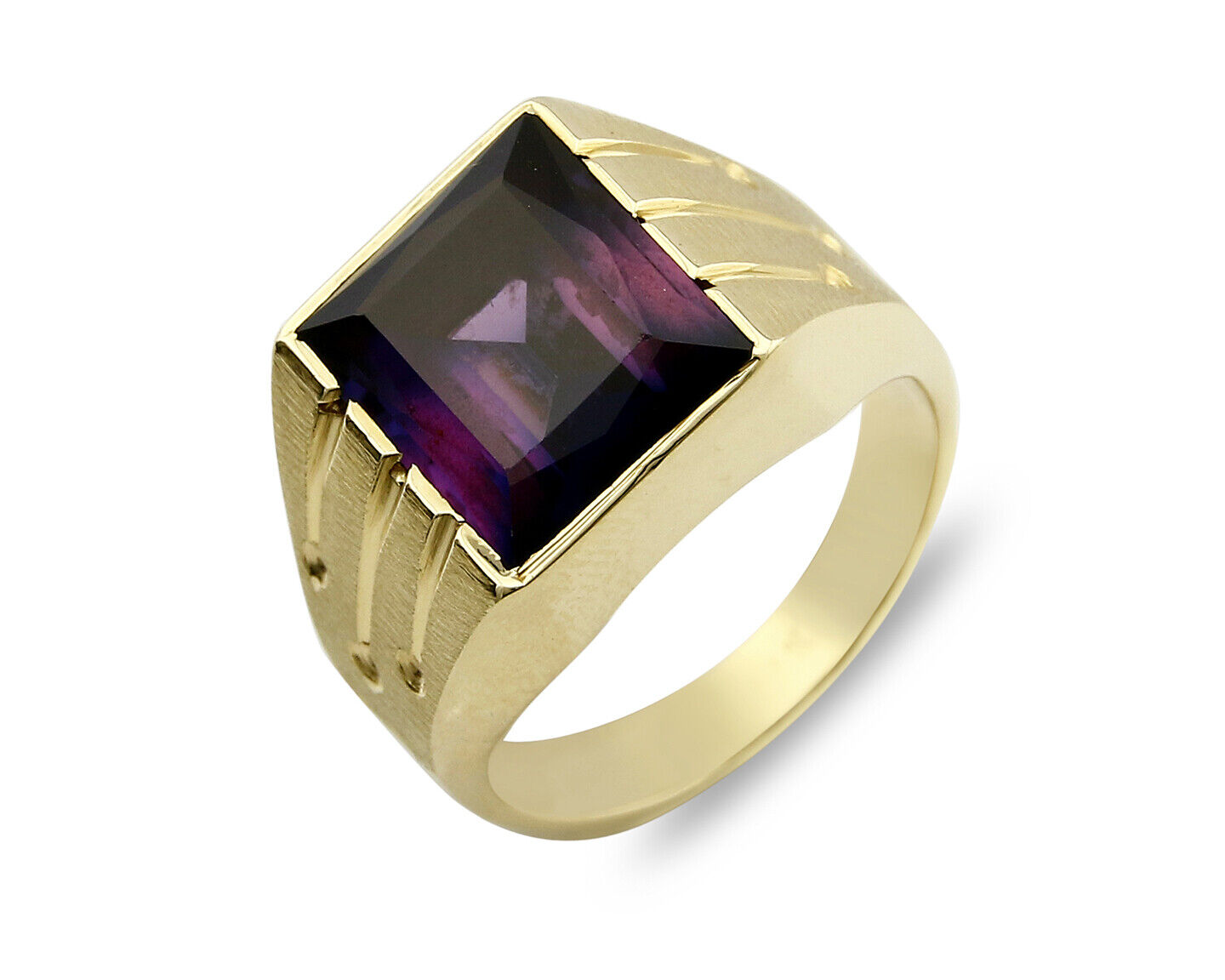 Woman's Large Natural 4.89 ct Amethyst Solitaire in 14k SOLID Yellow gold