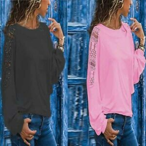 Long-Sleeve-Loose-Blouse-Tops-Solid-T-shirt-Summer-Ladies-Women-039-s-Shirt-Fashion