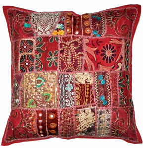 24 X 24 Throw Pillow Embroidered Indian Decorative Cushion Cover
