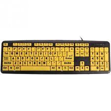 Large Print USB Keyboard High Contrast Big Letters PC Apple Mac Numeric Keypad