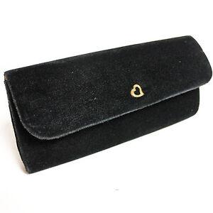 VICTORIA-039-S-SECRET-Black-Velvet-Gold-Heart-Evening-Clutch-Purse-Handbag-Bag