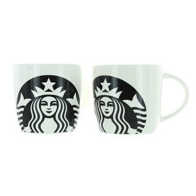 Starbucks Logo 14 Oz Ceramic Mug Black White Bundle Of 2 Ebay