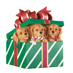 Musical Christmas Puppies In Gift Box Figurine, Green, by Collections Etc