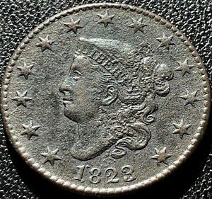 1823 over 2 Large Cent Coronet Head One Cent 1c High Grade XF - AU Detail #15444