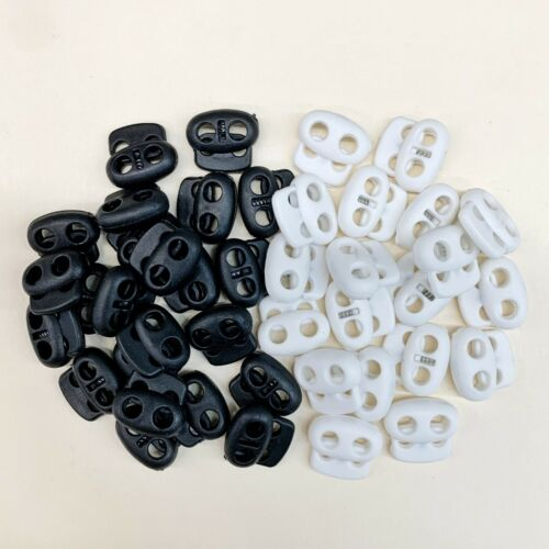 Two-Hole Spring-Loaded Cord Stopper CHOOSE Hold Mask Elastic Black White