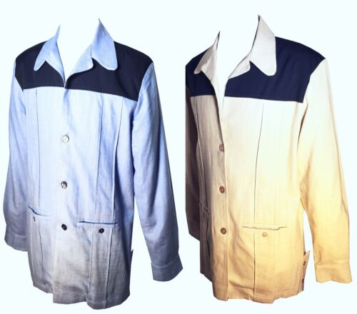 1950s Men's Clothing    Swankys Vintage Leisure Linen Hollywood Jacket $278.00 AT vintagedancer.com