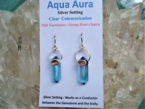 AQUA-AURA-Quartz-RARE-PINK-TOURMALINE-Earrings-Heart-Throat-Chakras-Beautiful