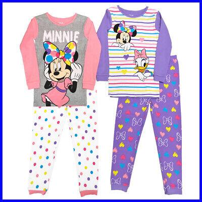 Minnie Sleepwear 2T-6X Disney Character Girl/'s Kids 4-piece Pajama Set