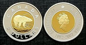 Canada-2002-Gold-Plated-Proof-Gem-Fine-Silver-UNC-Toonie
