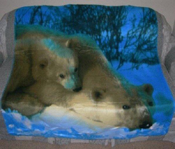 New Polar Bear Lover Family Cubs Gift Soft Fleece Throw Blanket NIP Bears Warm