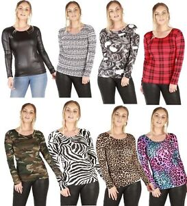 WOMEN-AZTEC-TARTAN-LEOPARD-PVC-CAMOUFLAGE-LONG-SLEEVE-TOP-T-SHIRT-PLUS-SIZE-8-22