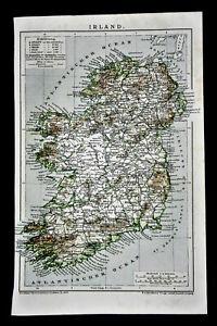 Cartina Geografica Dell Irlanda.1894 Antica Mappa Geografica Irland Isola Dell Irlanda Dublino Brockhaus Ebay