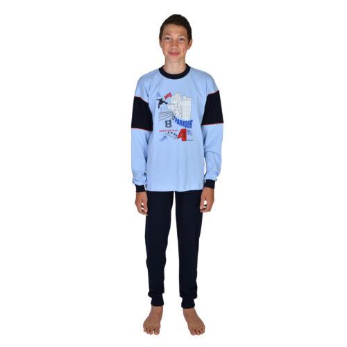 Jungen Schlafanzug Parkour Farbe sky Größe 116-176