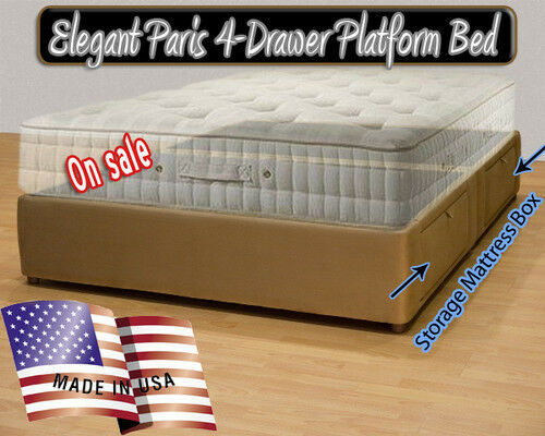 Upholstered Micro Fiber Hand Made Queen Platform Storage Bed with Headboard