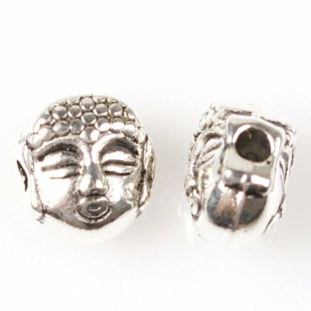 70pcs 112577 New Silver Tone Buddha Head Alloy Spacer Beads Fit Jewellry