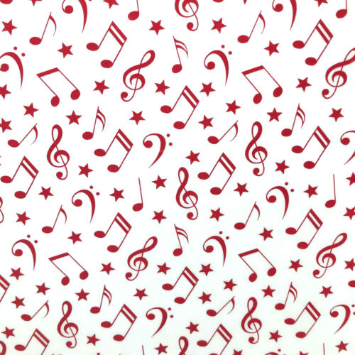 Navy or Red Musical Notes poly cotton fabric by the half metre 112cm wide