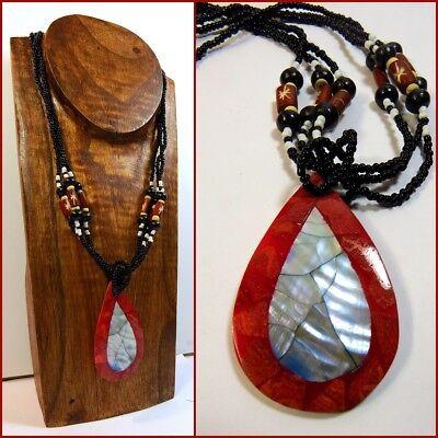 Halskette Collier Anhänger Rot Koralle Perlmutt Ethno Naturschmuck Damen Neu!!
