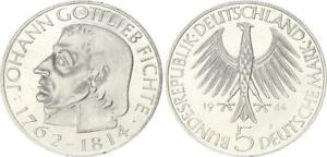 5 Mark 1964J Fichte Commemorative Coin Probe Without Randschrift Xf-Bu