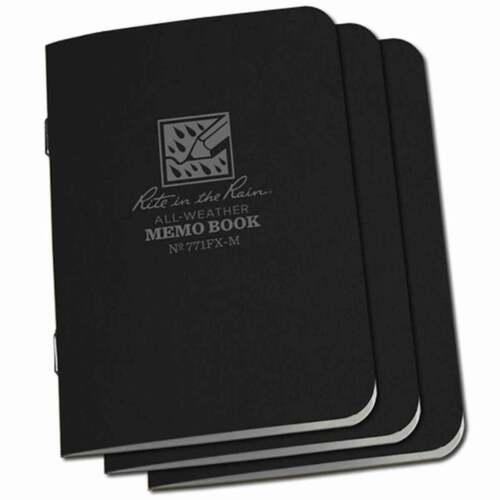"Rite in the Rain 3-Pack Waterproof Mini Notebook Notepad Black 3 1//4/"" x 4 5//8/"""