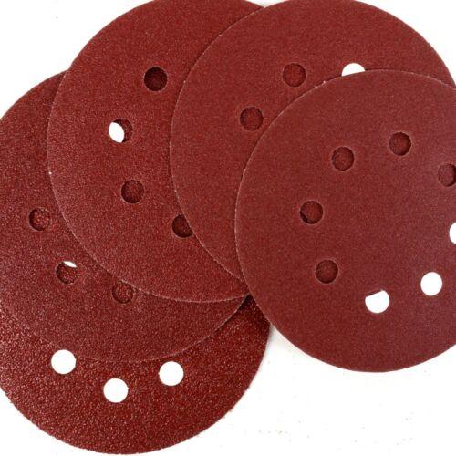 "5/"" 5x SANDING DISCS 125mm Mix 40-120 Grit Circular Orbital Sander 8 Hole Pad"
