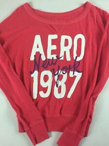 Aero-New-York-Long-Sleeve-Shirt-Womens-XS-S-Pink-Lightweight-Pullover-Glitter