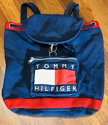 VINTAGE Tommy Hilfiger Backpack Nap Sack Book Bag Blue Red Spell Out 90s