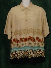 Mens LARGE Hawaiian Shirt PIERRE CARDIN Button Floral Rayon Hibiscus