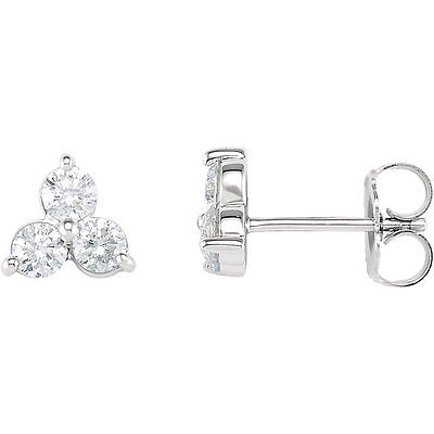 14K White Gold 1/3 ct tw Diamond Three-Stone Earrings 40% off Sug. Retail Price