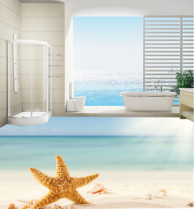 3D Beach Starfish 54 Floor WallPaper Murals Wall Print 5D AJ WALLPAPER AU Lemon