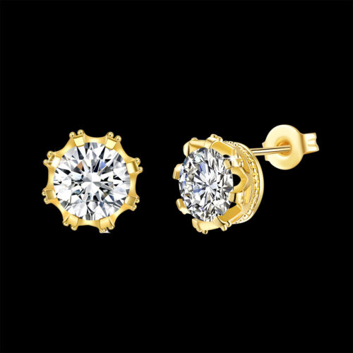 Vintage 18K Yellow Gold Filled Clear Crystal Round Stud Earrings Gift