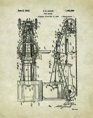 Road Grader Patent Art Print Poster Construction Equipment Vintage Parts  PAT278